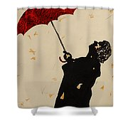 Man With Red Umbrella    Shower Curtain
