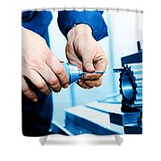 Man Working On Drilling And Boring Machine Shower Curtain
