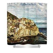 Manarola In The Sun - Vintage Version Shower Curtain
