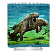 Manatee Mother And Young Shower Curtain