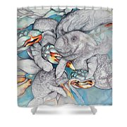 Manatee Party Shower Curtain