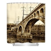 Manayunk Bridge Across The Schuylkill River In Sepia Shower Curtain