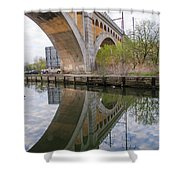 Manayunk Canal Bridge Reflection Shower Curtain