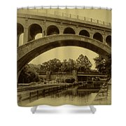 Manayunk Canal In Sepia Shower Curtain by Bill Cannon