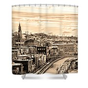 Manayunk In March - Canal View In Sepia Shower Curtain