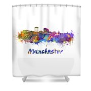 Manchester Nh Skyline In Watercolor Shower Curtain