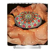 Mandala Stone In Rose Petals Shower Curtain