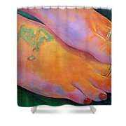 Mandy Toes Orange Shower Curtain
