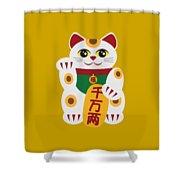 Maneki Neko Beckoning Cat Illustration Shower Curtain