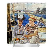 Manet: Boaters, 1874 Shower Curtain