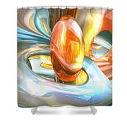 Mango And Cream Abstract Shower Curtain