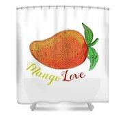 Mango Love Fruit Watercolor Mandala  Shower Curtain