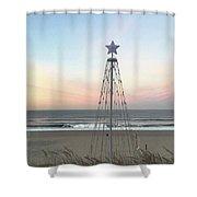 Manhattan Beach Christmas Star Shower Curtain