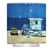 Manhattan Beach Lifeguard Station Shower Curtain