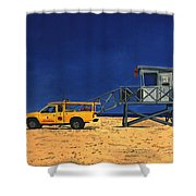 Manhattan Beach Lifeguard Station Side Shower Curtain