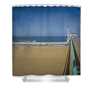 Manhattan Beach Pier Back Then Shower Curtain