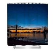 Manhattan Bridge At Dawn Shower Curtain