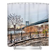 Manhattan Bridge From Brooklyn Bridge Park Shower Curtain