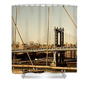 Manhattan Bridge From The Brooklyn Bridge  Shower Curtain