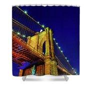 Manhattan Skyline From The Brooklyn Bridge At Dusk Shower Curtain