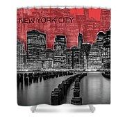 Manhattan Skyline - Graphic Art - Red Shower Curtain