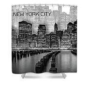 Manhattan Skyline - Graphic Art - White Shower Curtain