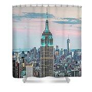 Manhattan Skyline Panoramic, New York City, Usa Shower Curtain