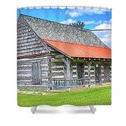 Manistique Schoolcraft County Museum Log Cabin -2158 Shower Curtain
