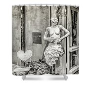 Mannequin On The Street Bw Shower Curtain