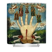 Mano Poderosa. The All-powerful Hand Shower Curtain