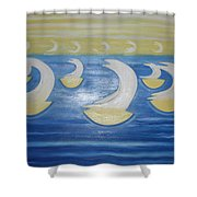 Many Sailing Boats On The Sea Shower Curtain