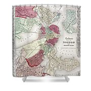 Map: Boston, 1865 Shower Curtain