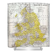 Map: England & Wales Shower Curtain