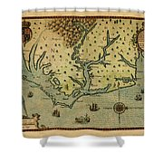 Map Of America 1590 Shower Curtain