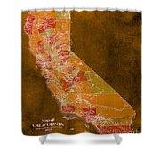 Map Of California, 1898, Orange Background Shower Curtain