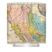 Map Of California New Mexico Texas  1849 Shower Curtain