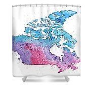 Map Of Canada With A Watercolor Texture In Pink, Blue And Purple Shower Curtain