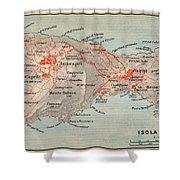 Map Of Capri 1909 Shower Curtain