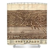 Map Of Cleveland 1877b Shower Curtain