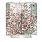 Map Of Copenhagen 1888 Shower Curtain