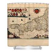 Map Of Cornwall 1646 Shower Curtain