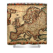 Map Of Europe 1700 Shower Curtain