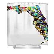 Map Of  Florida-colorful Shower Curtain