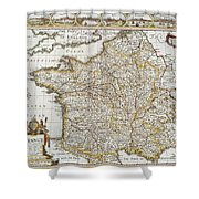 Map Of France, 1627 Shower Curtain