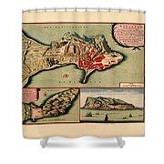 Map Of Gibraltar 1706 Shower Curtain