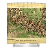 Map Of Grand Canyon 1926 Shower Curtain