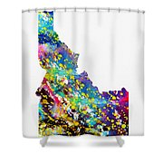 Map Of Idaho-colorful Shower Curtain
