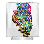 Map Of Illinois-colorful Shower Curtain