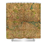 Map Of London England United Kingdom Vintage Street Map Schematic Circa 1899 On Old Worn Parchment  Shower Curtain