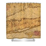 Map Of Long Island New York State In 1842 On Worn Distressed Canvas  Shower Curtain
